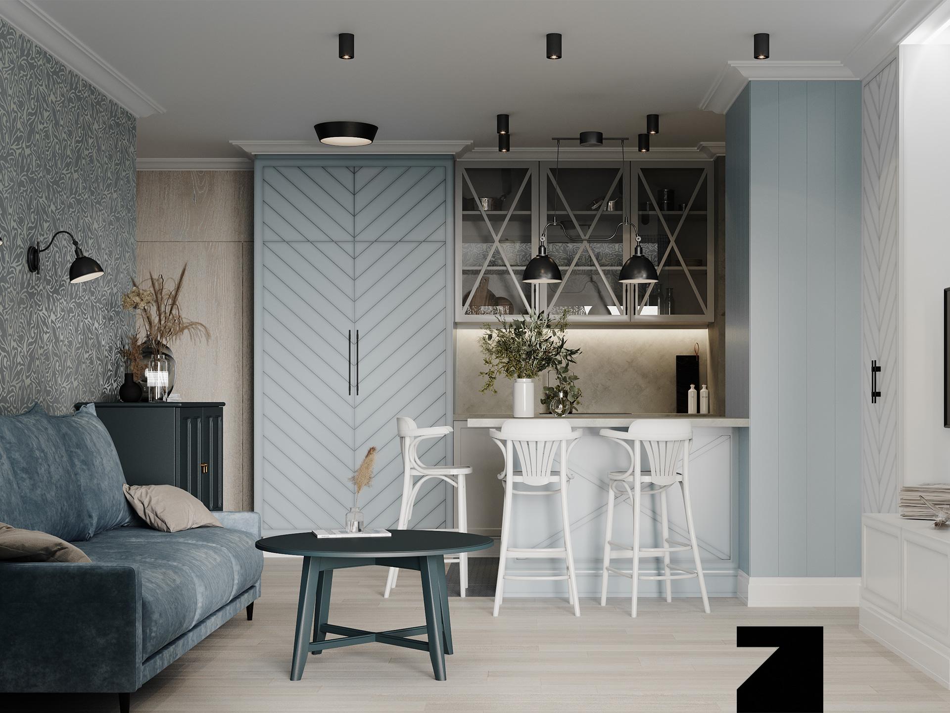 wnętrze Light Blue Apartment Gdańsk