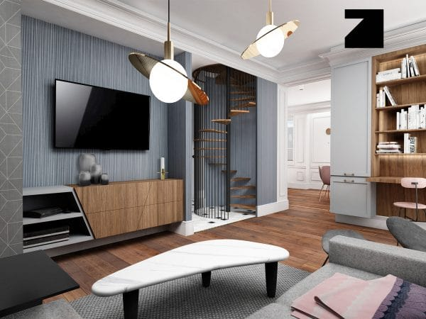 projekt luksusowego salonu - Lesinska